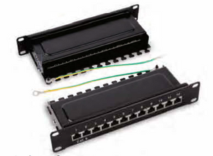 "HY0312R 1 O"" shielded 12 ports patch panel."